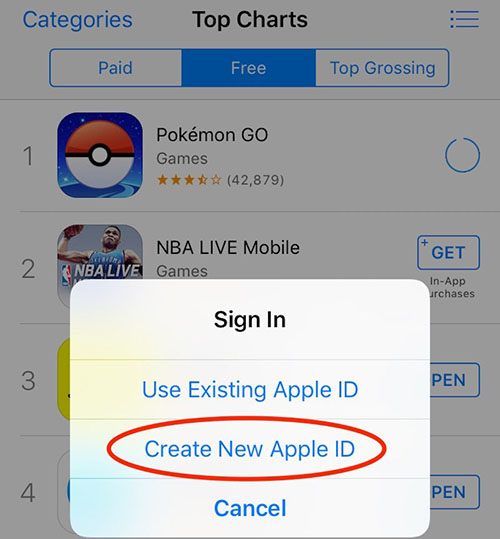 לחצו על יצירת חשבון אפל חדש (Create New Apple ID) והשתמשו בכתובת מייל שלא נרשמתם בה בעבר לאפל