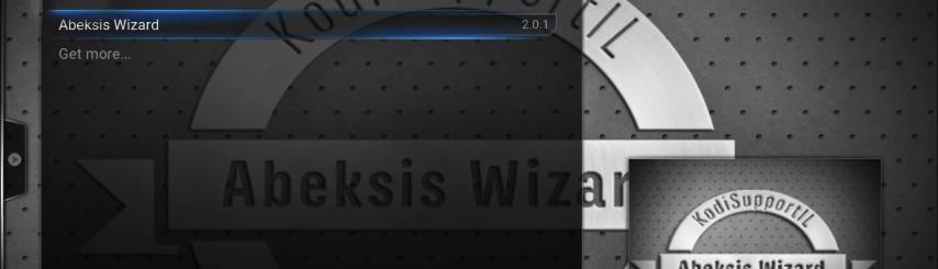 """לחצו על הפריט הראשון ברשימה - """"Abeksis Wizard"""""""