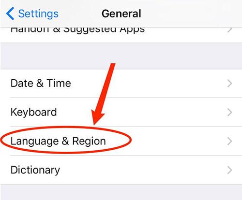 לכללי (General), בחרו באפשרויות השפה והאזור Language & Region